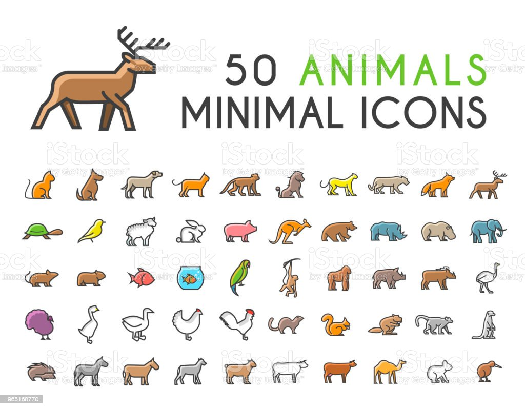 Set of 50 Minimalistic Solid Line Coloured Animal Icons . Isolated Vector Elements royalty-free set of 50 minimalistic solid line coloured animal icons isolated vector elements stock vector art & more images of agriculture