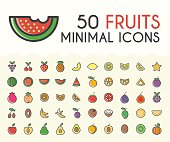 Set of 50 Minimalistic Solid Line Coloured Fruits Icons.