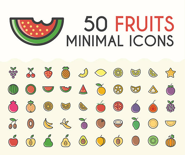 Set of 50 Minimalistic Solid Line Coloured Fruits Icons.  Isolated Vector Elements. avocado silhouettes stock illustrations
