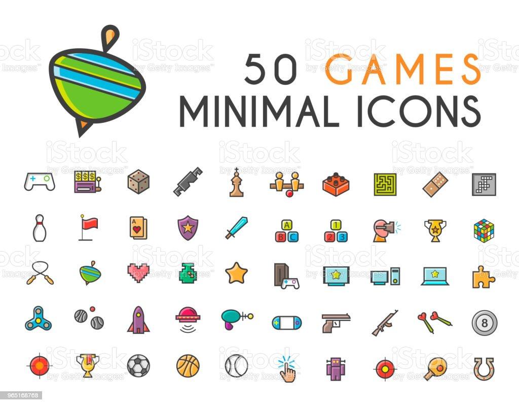 Set of 50 Minimalistic Solid Line Coloured Games Icons . Isolated Vector Elements set of 50 minimalistic solid line coloured games icons isolated vector elements - stockowe grafiki wektorowe i więcej obrazów aplikacja mobilna royalty-free