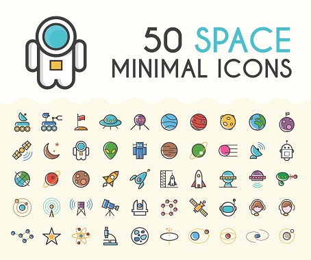 Set of 50 Minimalistic Solid Line Coloured Space Icons.