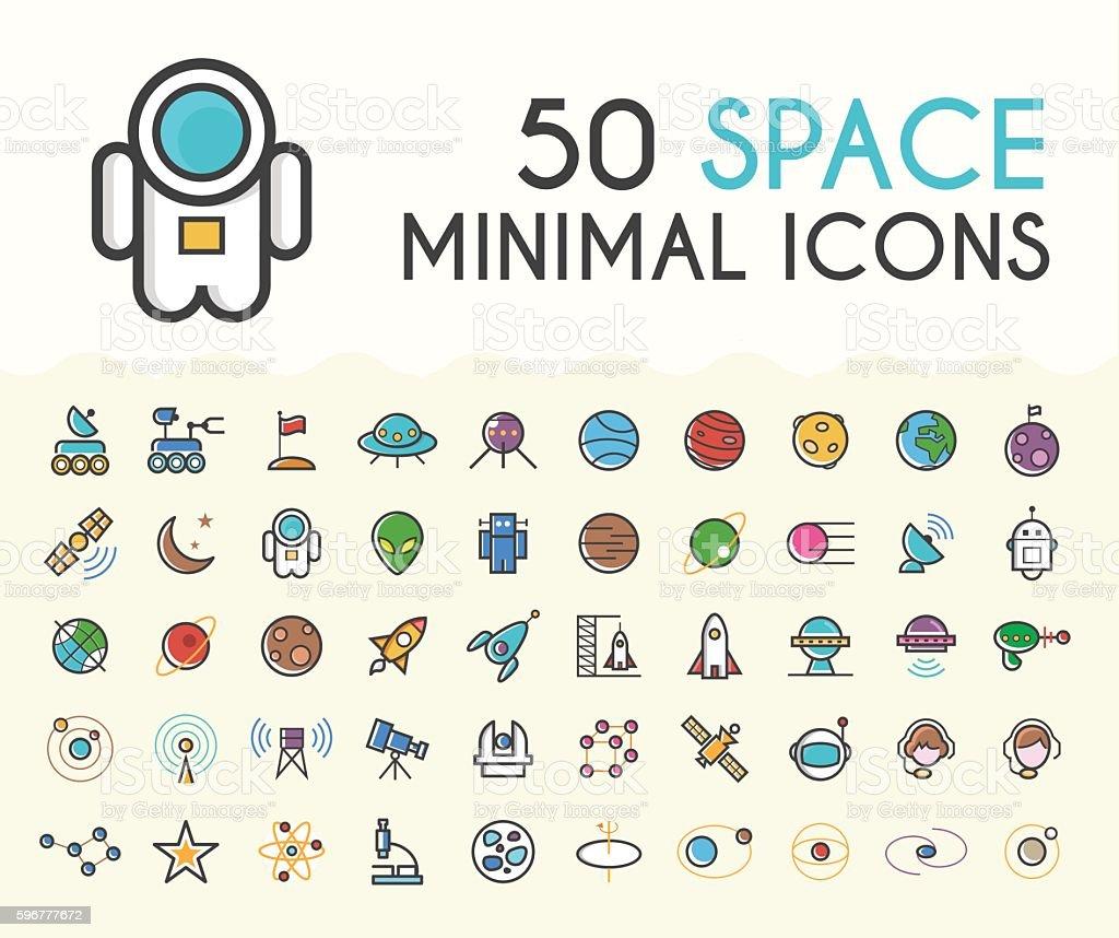 Set of 50 Minimalistic Solid Line Coloured Space Icons. - ilustração de arte em vetor
