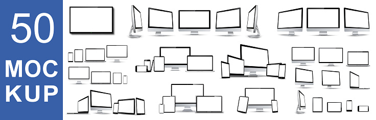 Set of 50 mockups fore technology devices with empty display - stock vector