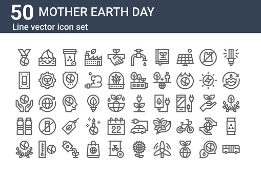 set of 50 mother earth day icons. outline thin line icons such as bus, ecology, water, ecology, switch, iceberg, energy