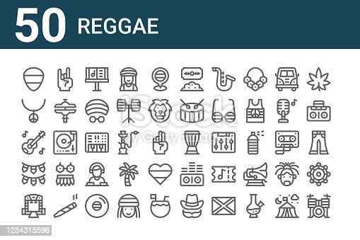 istock set of 50 reggae icons. outline thin line icons such as drum set, stage, garlands, acoustic guitar, necklace, rock, djembe, cocaine, synthesizer, sound waves 1254315596