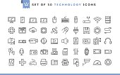 Set of 50 technology icons, thin line style