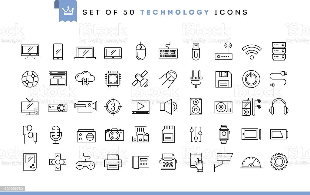 Set of 50 technology icons, thin line style vector art illustration