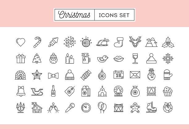 Conjunto de 50 iconos de línea fina de Navidad - ilustración de arte vectorial