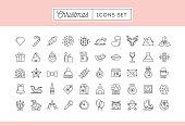 Set of 50 thin line Christmas icons