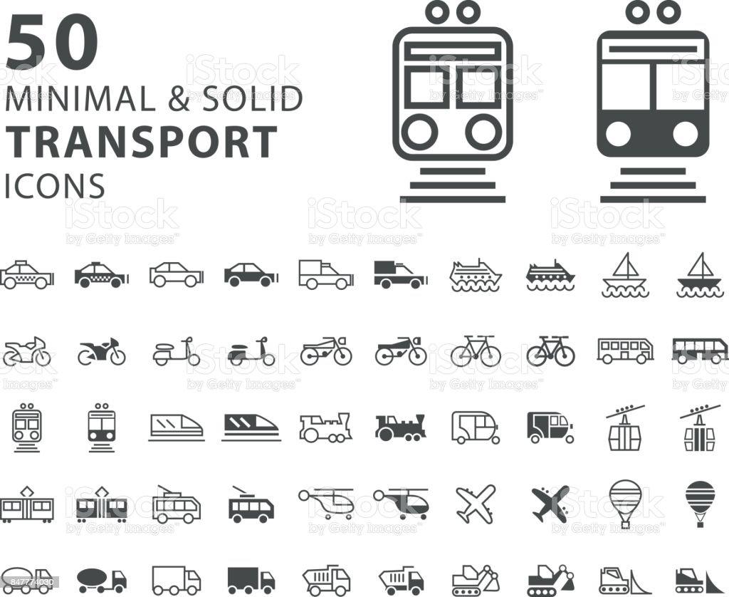 白い背景の上 50 のトランスポートの最小限と固体のアイコンのセット ベクターアートイラスト