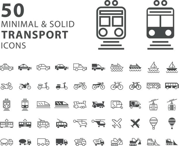 白い背景の上 50 のトランスポートの最小限と固体のアイコンのセット - 旅行/交通機関点のイラスト素材/クリップアート素材/マンガ素材/アイコン素材