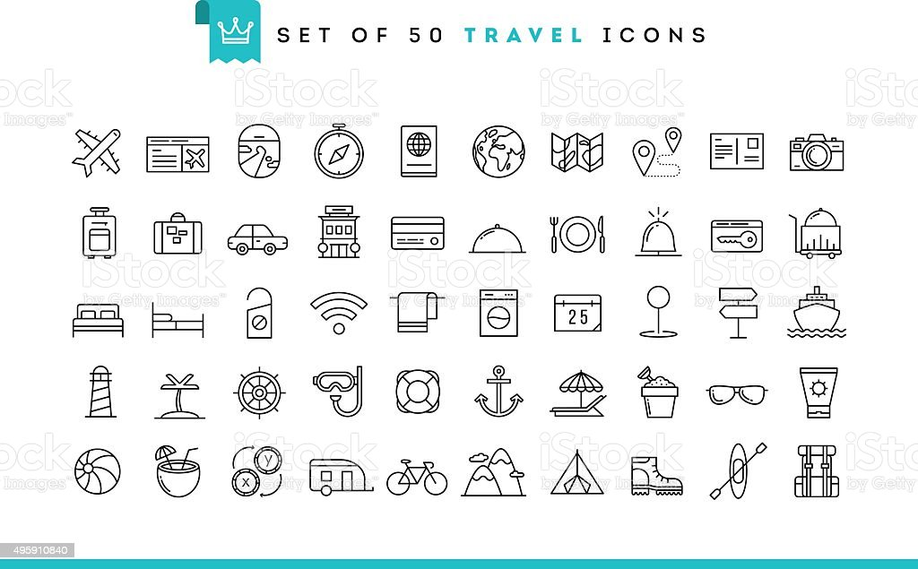 Set of 50 travel icons, thin line style royalty-free stock vector art
