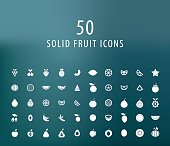 Set of 50 Universal Solid Fruit Icons.