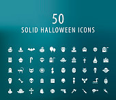 Set of 50 Universal Solid Halloween Icons on Dark Background . Isolated Elements