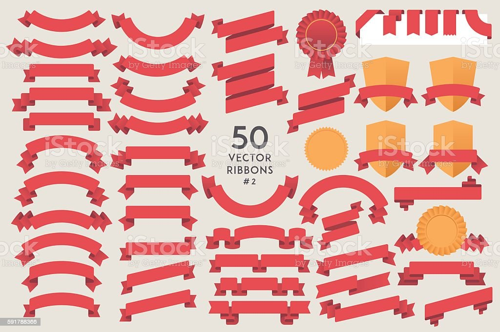 Set of 50 vector Ribbons #2 vector art illustration