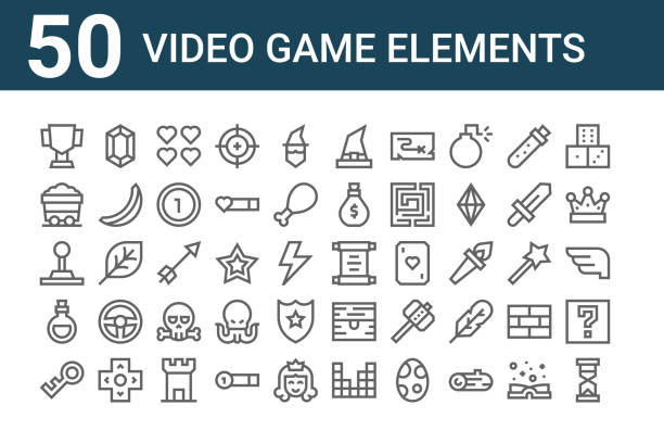 set of 50 video game elements icons. outline thin line icons such as hourglass, password, love potion, joystick, mining cart, gem, old paper set of 50 video game elements icons. outline thin line icons such as hourglass, password, love potion, joystick, mining cart, gem, old paper love potion stock illustrations