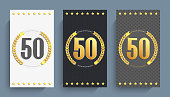 Set of 50th anniversary decorated anniversary card template.