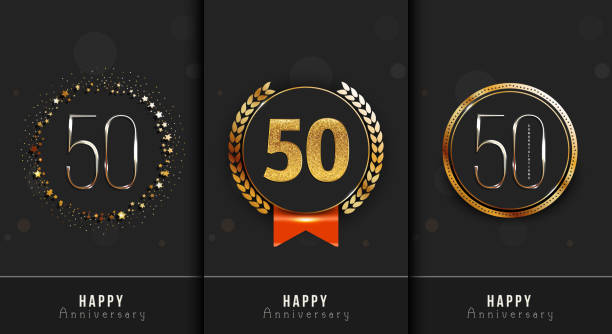 Set of 50th anniversary decorated Happy anniversary card template. vector art illustration