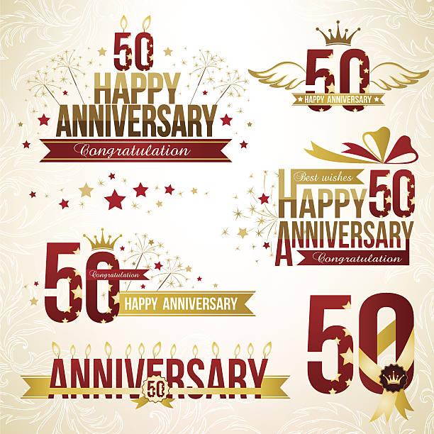 Conjunto de 50º aniversário emblems. - ilustração de arte em vetor