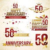 Set of 50th anniversary emblems.