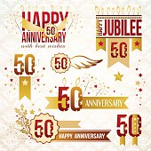 Set of 50th anniversary emblems.