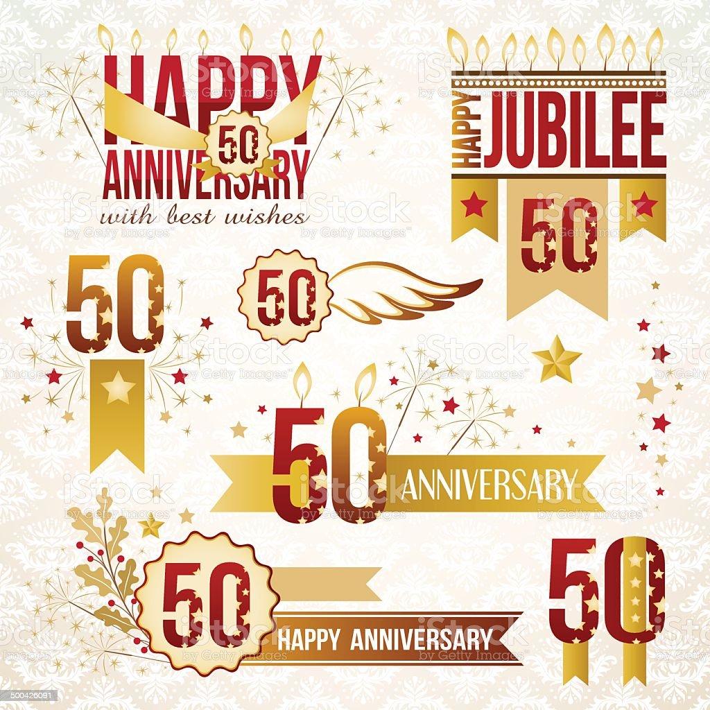 Set of 50th anniversary emblems. vector art illustration