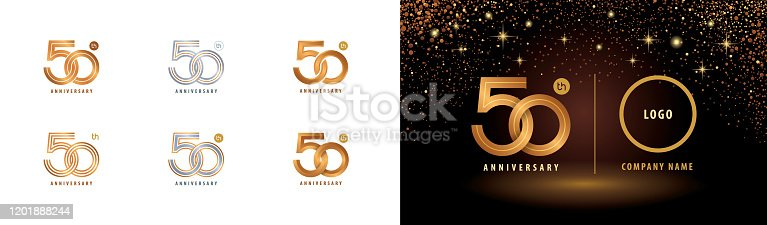 Set of 50th Anniversary logotype design, Fifty years anniversary celebration. 50 Years Celebrating Anniversary Logo silver and golden for celebration event, invitation, greeting, Infinity loop logo vector, abstract weave symbol, web template, flyer and booklet