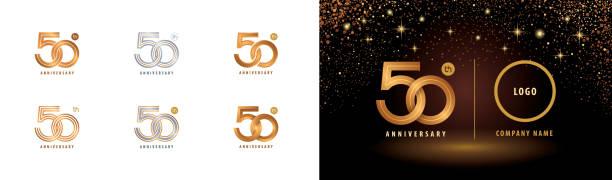 bildbanksillustrationer, clip art samt tecknat material och ikoner med set av 50-årsjubileum logotyp design, femtio års jubileumsfirande - talet 50