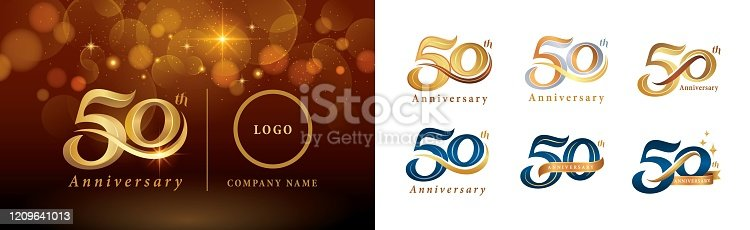 Set of 50th Anniversary logotype design, Fifty years Celebrating Anniversary Logo silver and golden, Vintage and Retro Script Number Letters, Elegant Classic Logo for Congratulation celebration event, invitation, greeting