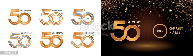 Set of 50th Anniversary logotype design, Fifty years anniversary celebration. 50 Years Celebrating Anniversary Logo silver and golden for celebration event, invitation, greeting, Infinity logo vector illustration, web template, flyer and booklet