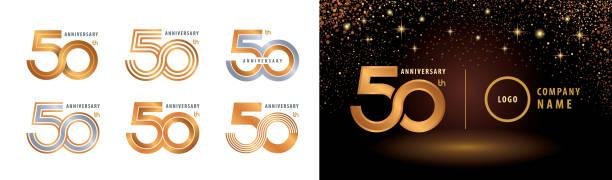 bildbanksillustrationer, clip art samt tecknat material och ikoner med 50-års jubileum logotypdesign - talet 50