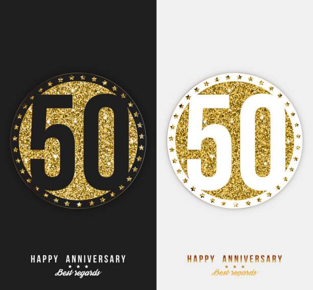 bildbanksillustrationer, clip art samt tecknat material och ikoner med uppsättning av 50-happy anniversary kort mall med guld inslag. - talet 50