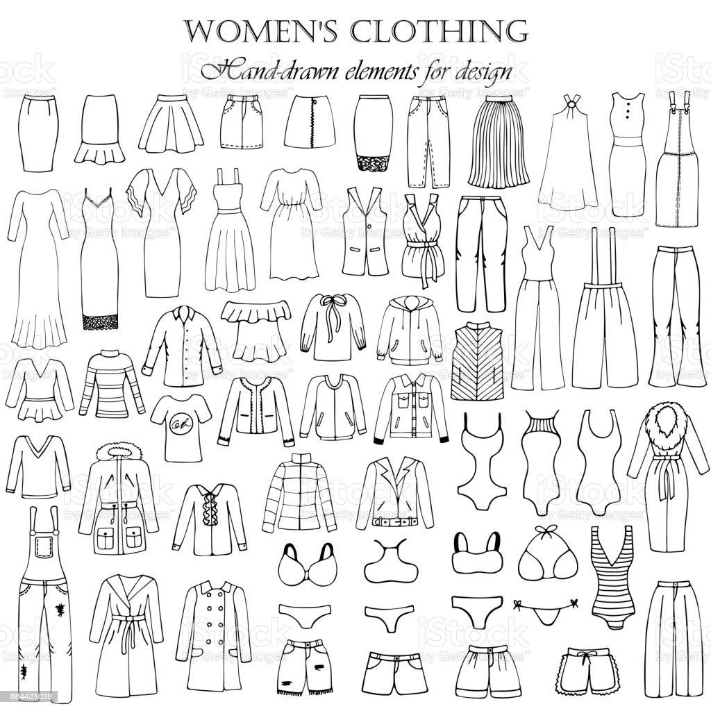 Satz von 55 handgezeichneten Elementen von Damenbekleidung für Design. Schwarz-Weiß-Vektor-Illustration. – Vektorgrafik
