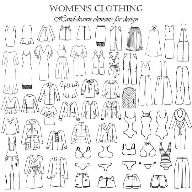 satz von 55 handgezeichneten elementen von damenbekleidung für design. schwarz-weiß-vektor-illustration. - damenmode stock-grafiken, -clipart, -cartoons und -symbole