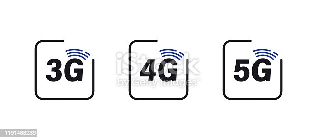 Set of 5g 4g 3g internet icons. Mobile network 3G, 4G & 5G Vector Icons.