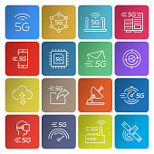 Set of 5G Technology Related Line Icons. Simple Outline Icons.