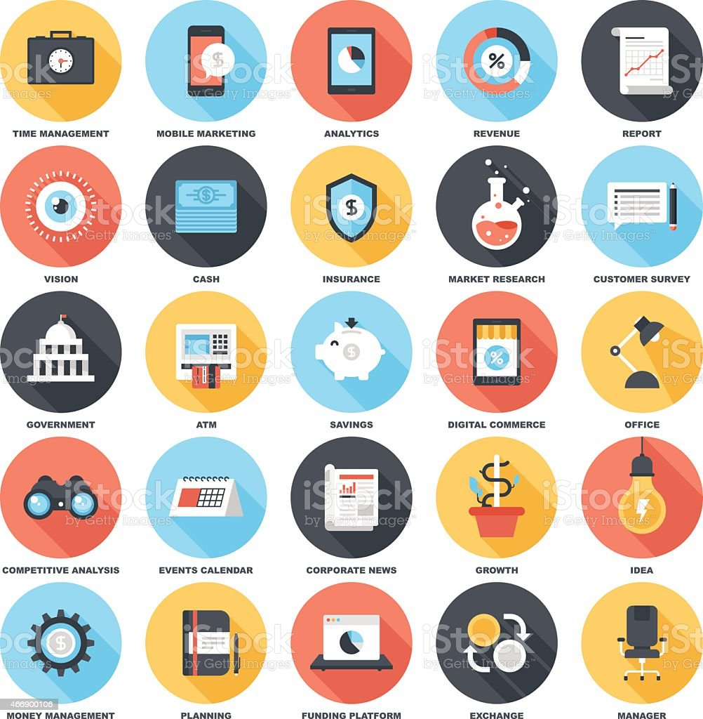Set of 5x5 colorful business & finance icons on white vector art illustration