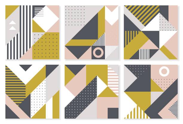 bildbanksillustrationer, clip art samt tecknat material och ikoner med uppsättning 6 bakgrunder med trendiga geometriska design. vector mall för täcker, verifikation, affischer, flyers och banner design. - konststilar