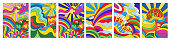 istock Set of 6 brightly colored psychedelic landscapes 1302663723