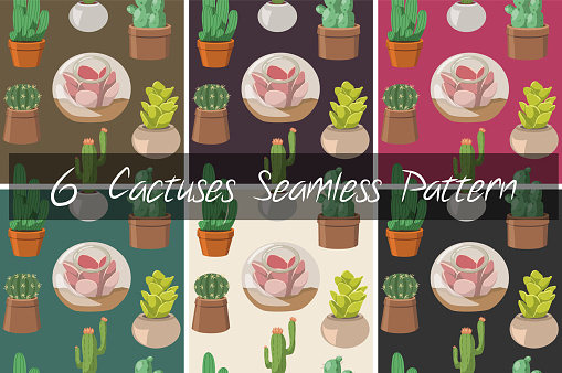 Set of 6 Cactus and Succulent Seamless Pattern