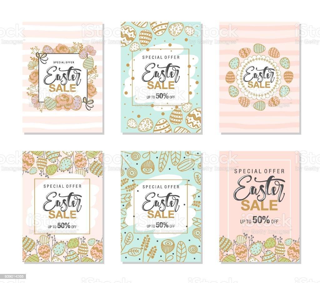 Ein Satz Von 6 Karten Osternverkaufhintergrund Mit Schönen Blumen ...
