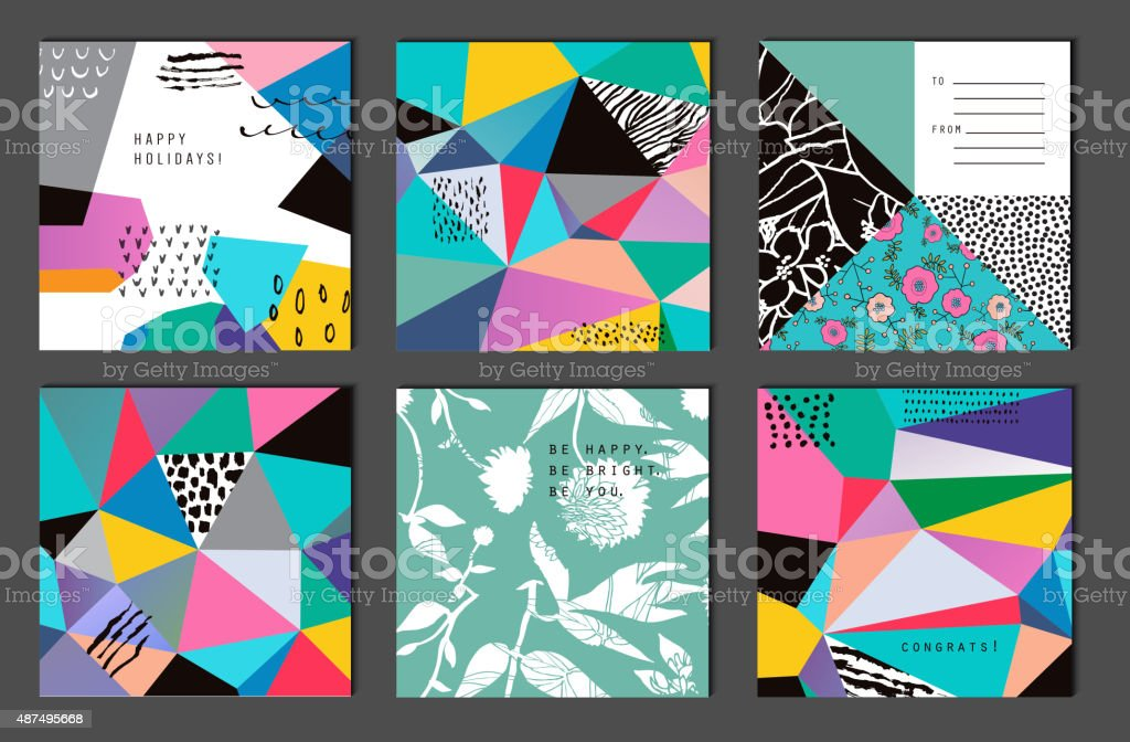 Set of 6 creative universal cards. Hand Drawn textures. vector art illustration
