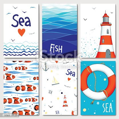 Set of 6 lovely cards templates with marine design. A lot of nautical elements. Vector illustration.