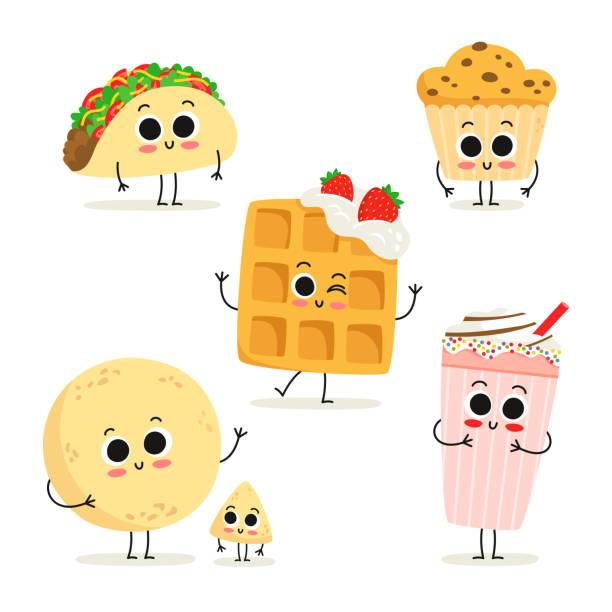 satz von 6 niedlichen cartoon fast-food snack zeichen isoliert auf weiss - tortillas stock-grafiken, -clipart, -cartoons und -symbole