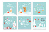 Set of 6 cute Christmas gift cards with lettering quote Merry Christmas, merry and bright, warm wishes, magic moments. Easy editable template. Cute  illustration for postcard, poster, t-shirt, banner.