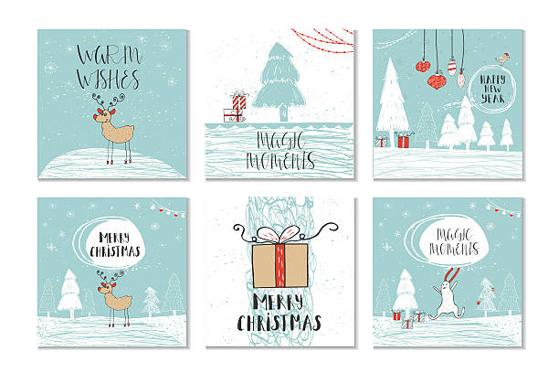 Set of 6 cute Christmas gift cards with quote - Illustration vectorielle