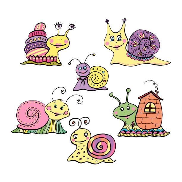 satz von 6 niedlichen bunten cartoon-schnecken - lustige schnecken stock-grafiken, -clipart, -cartoons und -symbole