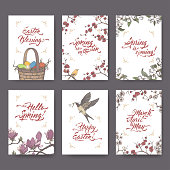 Set of 6 Easter and spring related color greeting cards on white background with hand drawn sketches and brush calligraphy. Great for seasonal design.