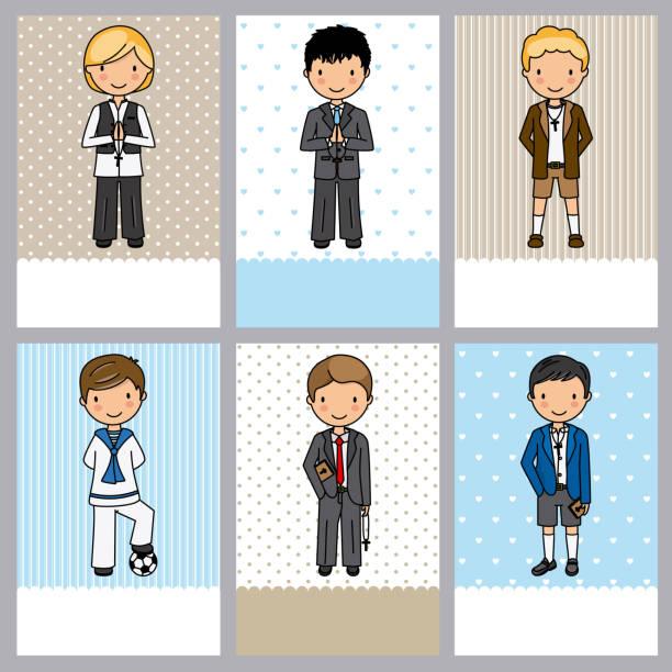 ilustraciones, imágenes clip art, dibujos animados e iconos de stock de conjunto de 6 tarjetas de niño primera comunión - comunión