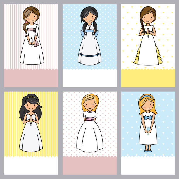 ilustraciones, imágenes clip art, dibujos animados e iconos de stock de conjunto de 6 tarjetas de niña primera comunión - comunión